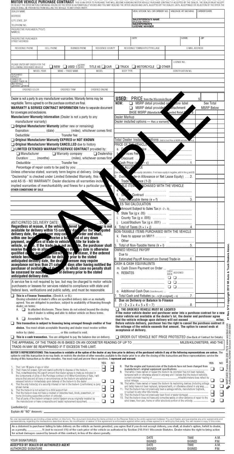 Contract For Selling A Car >> Standard Motor Vehicle Purchase Contract, 2014 rev, 100 pk