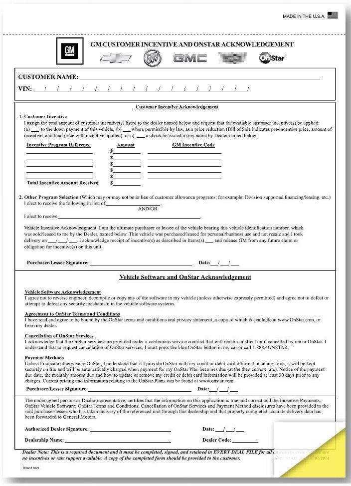 Gm Customer Incentive Amp Onstar Acknowledgement