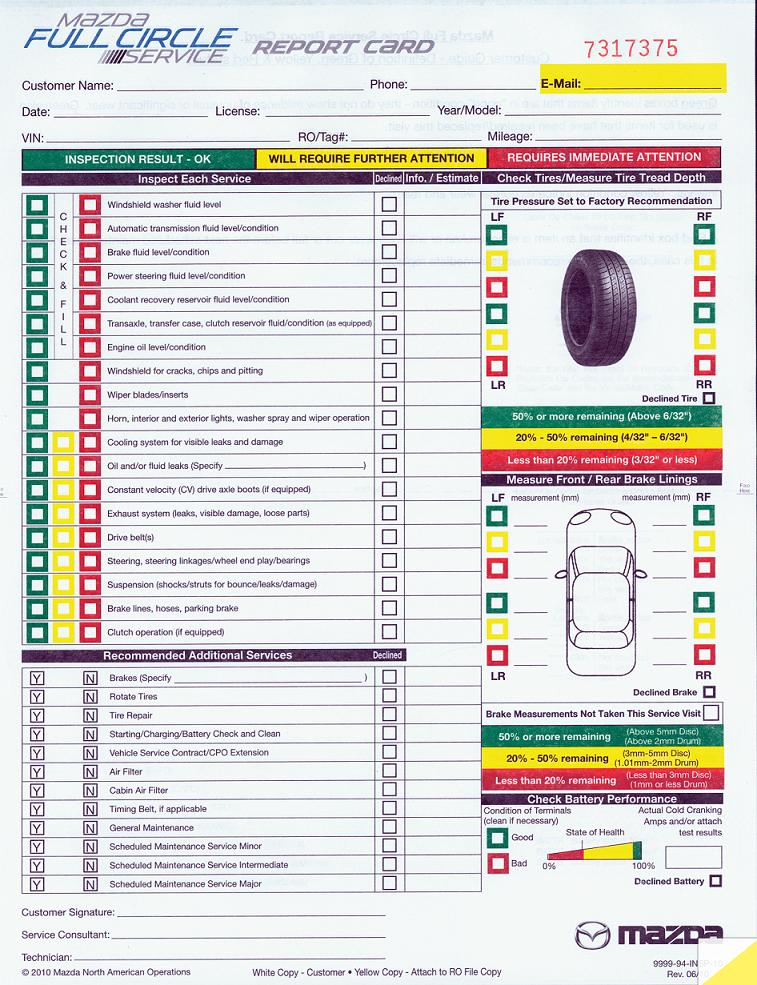 Multi Point Inspection Form Mazda