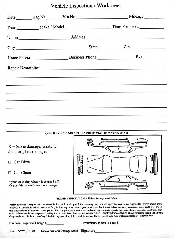 Vehicle Inspection Worksheet (AVW)