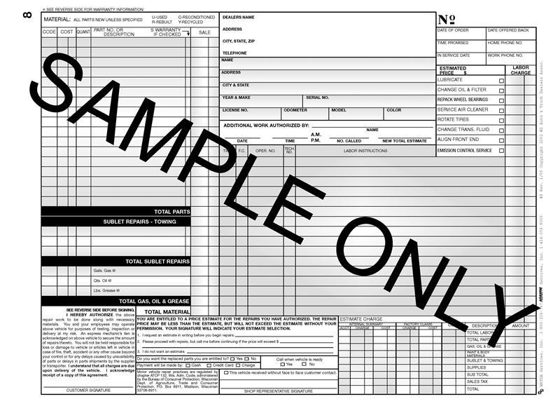 Standard Repair Order