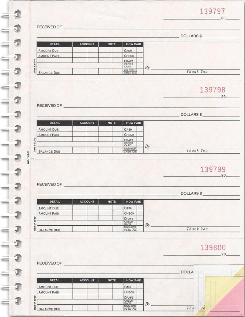 Cash Receipt Books (NC-146-3), 3 pt