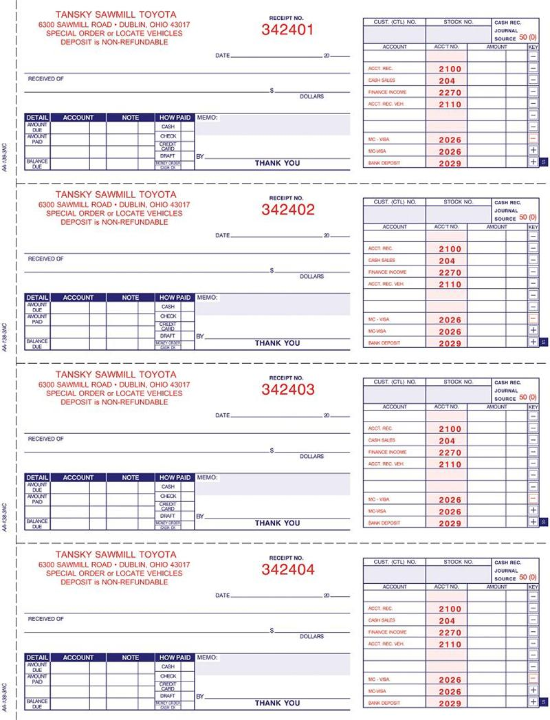 Cash Receipt Book w/accting (A-138NC), Imprinted, 3 part