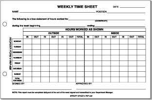 Sales Weekly Time Sheet