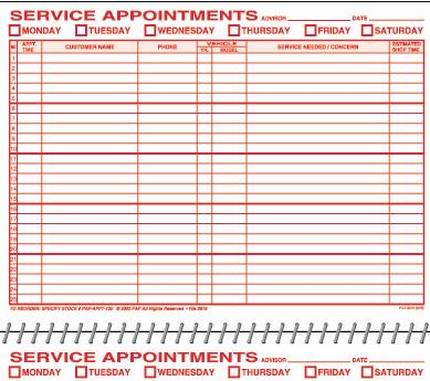 Service Appointment Book