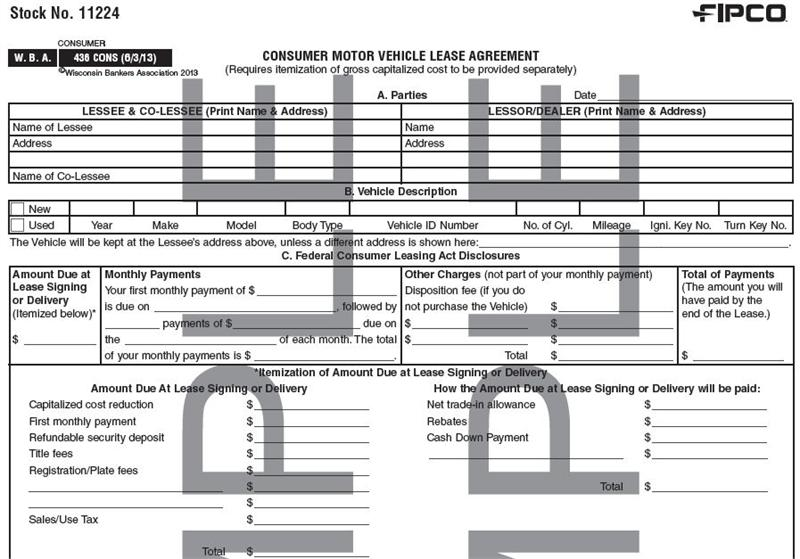 Consumer Motor Vehicle Lease Agreement, 20/Pk
