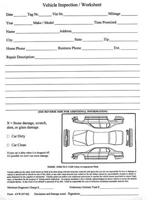 Vehicle inspection worksheet avw for Ford motor company employment verification