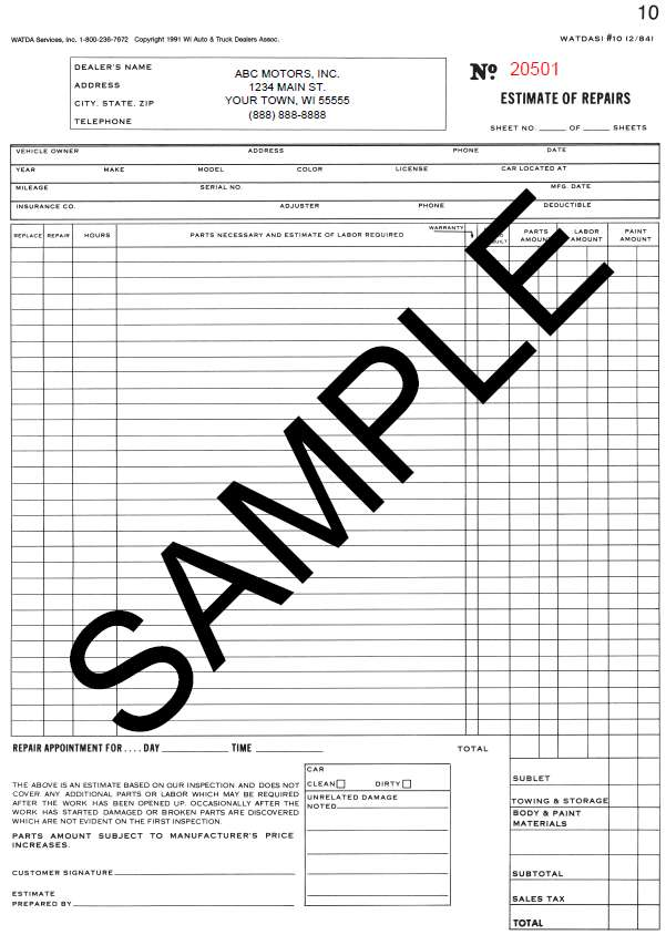 estimate disclaimer sample