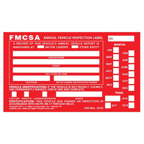 Annual Vehicle Inspection Label - Aluminum with Punch Boxes