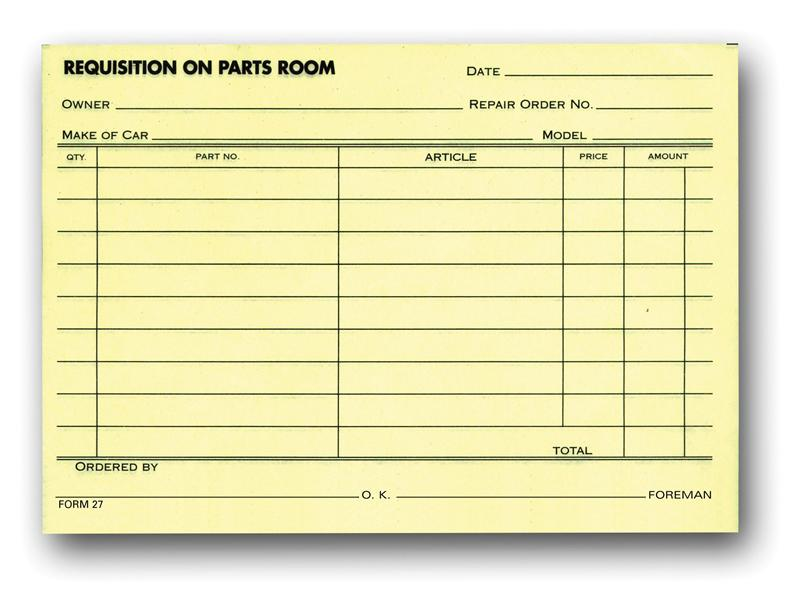 requisition on parts room  27