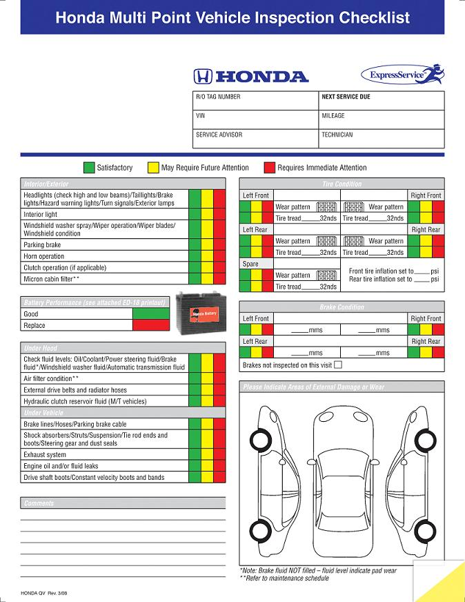 Multi point inspection form honda for Used car window sticker template