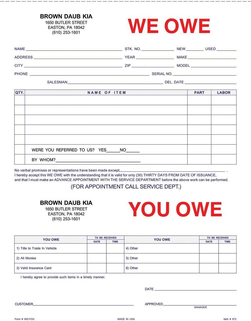 We Owe You Owe Form Imprinted