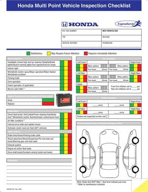 Multi Point Inspection Form Honda