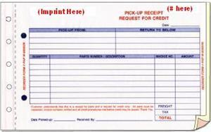 parts pickup receipt imprinted